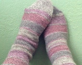 Custom Wool Socks : Pink and Khaki Ragg Stripes - You choose your size and style!