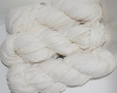 Clean 100g Recycled Sari Chiffon off White/CREAM Silk Ribbon Yarn, multi, 85 yards,   3.5 oz / 100 grams free shipping