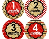 Baby Monthly Stickers FREE Baby Month Milestone Sticker Baby Month Stickers Baby Girl Bodysuit Stickers Chevron Glitter Gold Red Black 198G