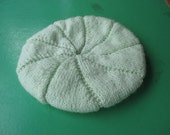 Handmade Knitted Pale Green Beret for a Women in super soft Pingouin Confort wool blend