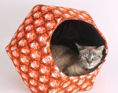 The Cat Ball Cat Bed a Cat Nest Design in Orange and Black Pirate Skull and Crossbones