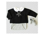 Knit baby set. Sweater, diaper cover, socks. Black and gray. Felt stars. 100% Merino. READY TO SHIP size newborn.
