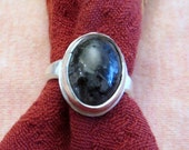 Reserved for M; Black Spangled Larvikite in Argentium Sterling Ring Size 6