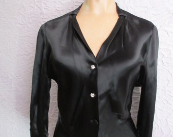 50's Silk Satin Blouse rhinestone buttons medium