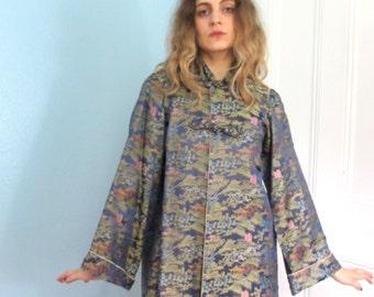 40's Vintage Silk Brocade Swing Coat Jacket