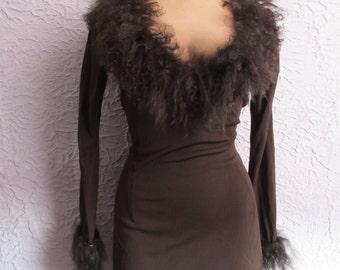 Vintage 60's Rayon Jersey Mini Dress Mongolian Lamb trim