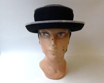 Vintage 1990s Australian designer black wool felt with white stitching hat, Gregory Ladner hat