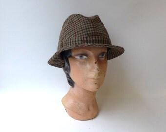 Vintage 1960s Olney ladies wool tweed trilby fedora hat, Made in England
