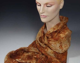 Rust dyed Natural fiber eco-dyed with actual rust long silk scarf Hand-rolled edge