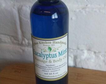 Eucalyptus Mint Massage /Body Oil/ Massage Oil/ Eucalyptus/ Mint (4 Oz.)