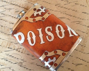 Poison Label Steampunk Leather 8oz Hip Flask - Made to Order
