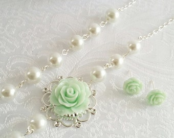 Mint Rose necklace Bridesmaid Gift Set White pearls Mint Stud earrings Flower Necklace Mint jewelry set Mint Green Necklace and earrings set