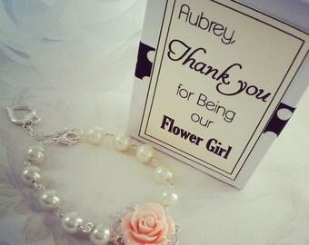Peach Ivory Bracelet - Flower Bracelet  - Peach Ivory Pearls bracelet - Bridesmaid gift - little girl jewelry Flower girl gift rose bracelet