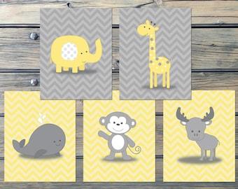 Chevron Yellow Gray Nursery Art - INSTANT DOWNLOAD - Monkey Moose Giraffe Whale Elephant -Set of 5 Zigs Zags Nursery Decor