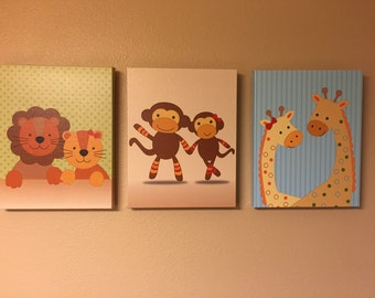 Noah's Ark Nursery Art - Baby Prints - Set of 3 - Choose Your Size - Giraffe Monkey Lions