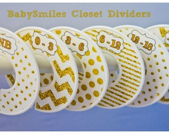 Custom Closet Dividers Baby Closet Dividers Nursery Dividers Baby Shower Gift Closet Organizers - Beautiful Gold Glitter and White - 137