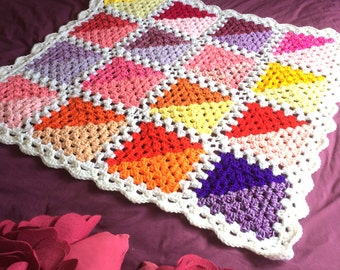 Summer Geometric Granny Square Crochet Throw