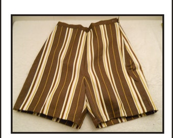 Vintage Ladies Shorts New Old Stock Brown And Yellow Stripped