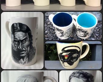 Custom portraits painted on ceramic mugs