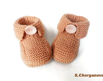 Discount-Knitted baby booties, knitted baby shoes in beige,handmade, baby accessories,  READY TO SHIP