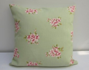 Sage Green Cushion Cover, Floral Cushion,  16 X 16 inch, Floral Pillow Sham,  Cottage Chic Pillow Cover