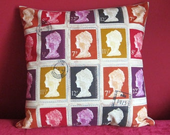 Postage Stamp Cushion Cover, Postage Stamp Pillow Cover, Red, Orange, Purple, Mustard Yellow, Decorative Pillow Cover, Various sizes
