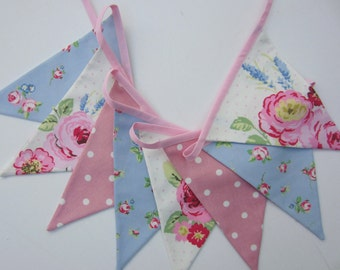 Fabric Bunting, Vintage Bunting, Pennant Flags, Floral Bunting, Pink and BlueBunting, cottage bunting, baby bunting