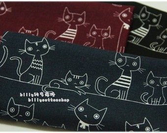 k744 - cats fabrics - cotton linen - ( 3 color to choose) in Half Yard