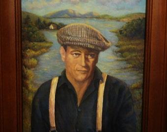 Movie Wall Art Print:  John Wayne as Sean Thornton on Quiet Man bridge 8x10 print from orginal John Wayne Wall painting