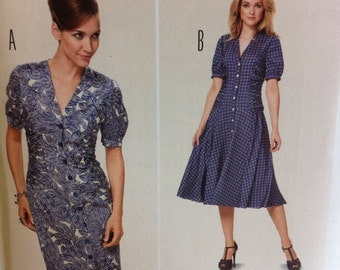 Burda Pattern No. 6915 DRESS Shirred Dress Pattern Sizes 6-18 Germany straight or Flared Dress with Shirred sides Multiple Sizes Size 6 - 18