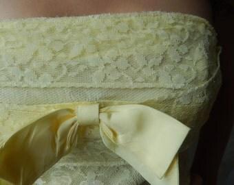Vintage Formal - Vintage Prom Gown - Strapless Gown - Yellow Prom Gown - Lorrie Deb Gown - 1950s Prom Gown