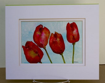 Original Watercolor - Flower Painting -  Red Tulips - Garden Painting - Fine Art Home decor - Wall Art Floral - tulip painting