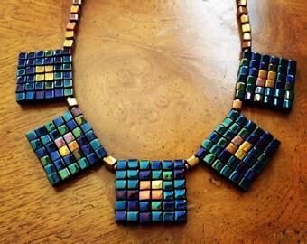 Metallic bronze & blue statement necklace, beaded necklace, metallic blue necklace, blue and bronze necklace, statement jewelry, EBW