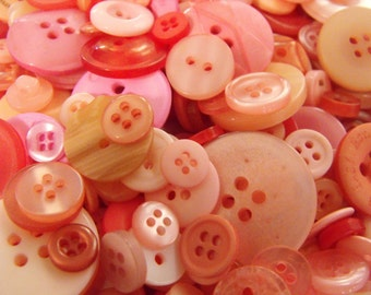 Pretty Pink Buttons, 100 Bulk Assorted Round Multi Size Crafting Sewing Buttons