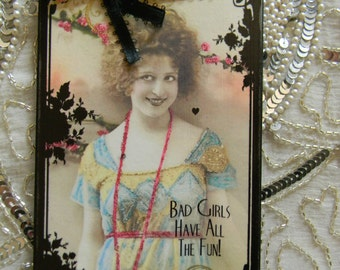 Bad Girls Have All The Fun Sign Flapper Decor Decorative Wall Plaque