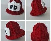 Crochet Firefighter Helmet-Toddler Fireman Hat-Boys Photography Prop-Teen/Adult Costume-Sizes Newborn to Adult