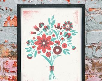 """Flower Bouquet Overprint Silkscreen Art Print - 11"""" x 14"""""""