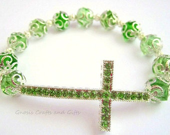 Green- Sideways cross bracelet, Rhinestone Cross, Beaded bracelet, Glass bracelet, Cross Jewelry, Bling cross bracelet, Cross focal bracelet
