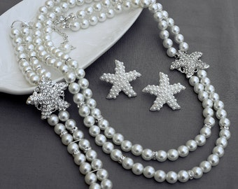Bridal Pearl Rhinestone Necklace Bracelet Earring Crystal STARFISH Ivory Pearls Beach Wedding Jewelry Set ST011LX
