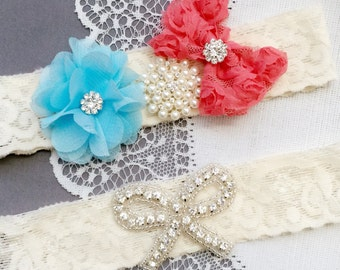 Wedding Garter Bridal Garter Coral Red Light Blue Lace Garter Set Rhinestone Garter Crystal Pearl Garter Beach Wedding GR158LX
