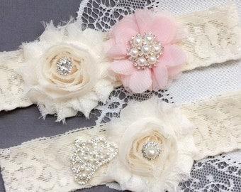 Wedding Garter Bridal Garter Pale Pink Garter Set Lace Garter Set Tiara Crown Rhinestone Crystal Pearl Garter Princess GR166LX
