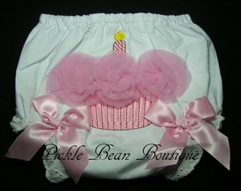 Pink Cupcake Birthday Bloomers - Baby Diaper Covers - Girls First Birthday Outfit - Photo Prop - Cupcake Diaper Covers - Girl 1st Birthday