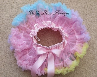 Pink Rainbow Tutu, Birthday, Pink Pettiskirt, Baby Girl 1st Birthday Outfit, Pastel Petti Skirt Tutu Toddler, Girls First Birthday Outfits