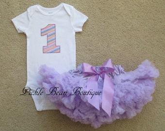 1st Birthday Girl Outfit, Pastel Rainbow Outfit, Lavender Pettiskirt, Girls First Birthday Outfits, First Birthday Outfit, Birthday Tutu