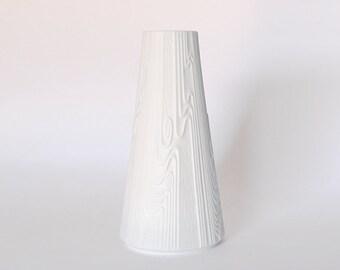 Modernist White Biscuit  Wooden motif  German Vase - Edelstein 60s