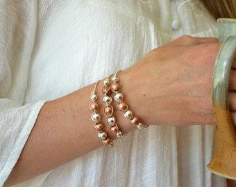 Bangle Bracelet, Mixed Metal Bracelet, Sterling Silver Copper, Stacking Bracelet