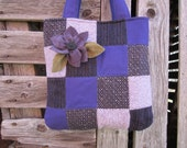 Wool patchwork purse, wool totebag