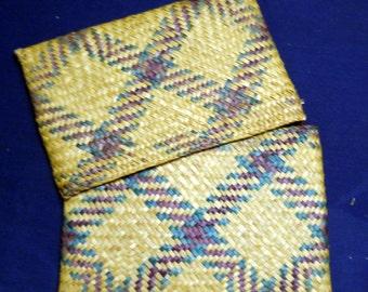 Woven Krajood Envelope Style Clutch, Natural Tablet or Notebook Case, Vintage