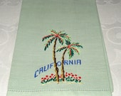 Vintage Embroidered  Tea Towel Souvenir of California