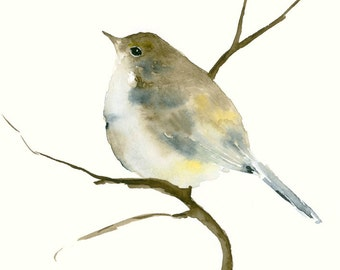 Bird Art Print from Original Watercolor Painting Little Blue and Brown Bird